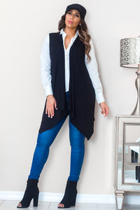 Maria Sleeveless Open Front Draped Solid Casual Mid Length High Low Cardigan in Black