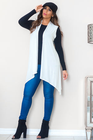 Maria Sleeveless Open Front Draped Solid Casual Mid Length High Low Cardigan in Ivory