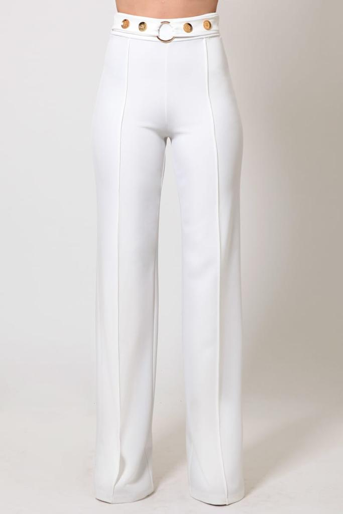Massimo White Sophisticated High Waist Pants with Gold Details