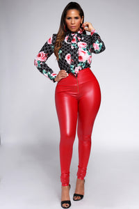 Matteo Red Faux Leather High Waisted Leggings