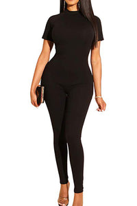 Megan Short Sleeve Bodycon Casual Jumpsuit