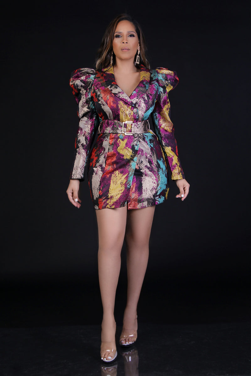 Melinda Multicolor Shoulder Puff Blazer Dress