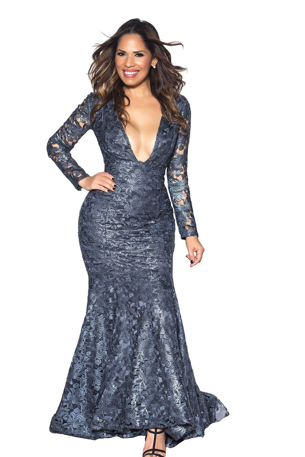 Metallic Blue Crochet V Neck Long Sleeve Mermaid Maxi Dress - MY SEXY STYLES  - 1