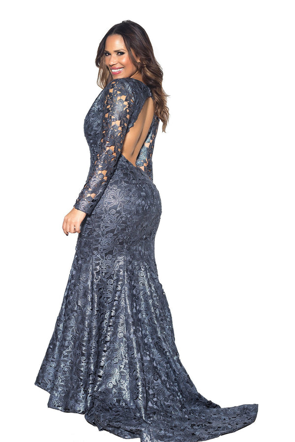 Metallic Blue Crochet V Neck Long Sleeve Mermaid Maxi Dress - MY SEXY STYLES  - 5