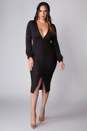Michaela Sexy Deep V Neck Ruched Split Long Sleeve Bodycon Party Midi Dress