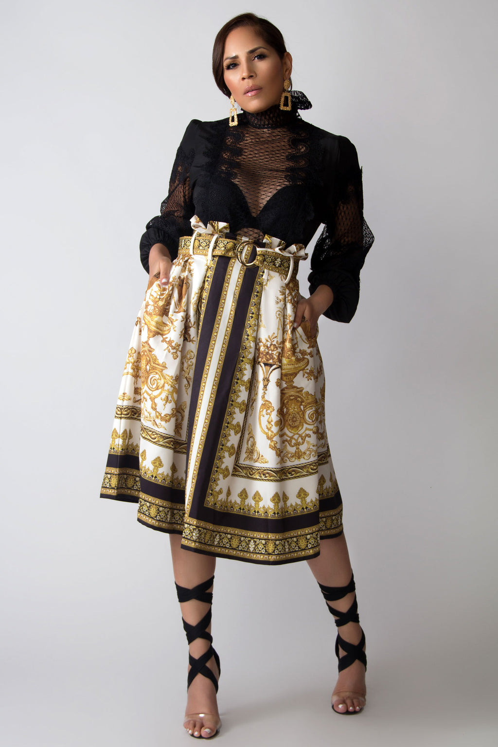 Michelle Baroque Print Belted Skirt