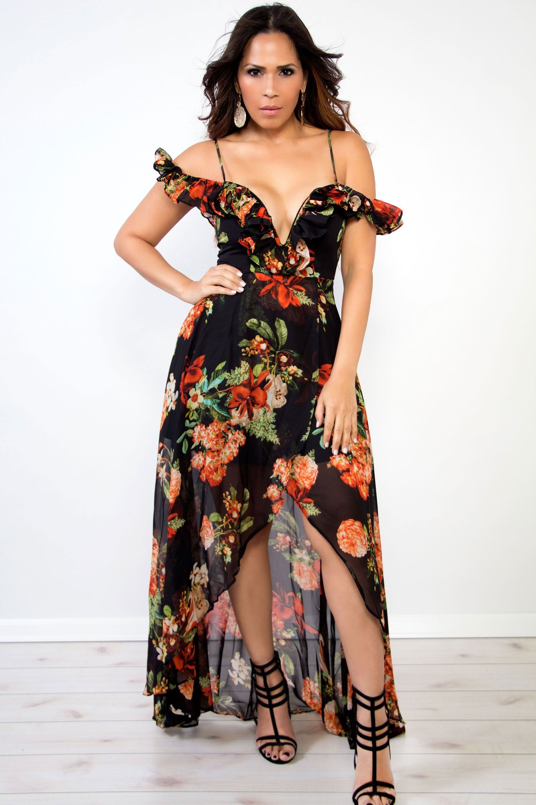 b2d0f57c5e4 Mila Red Black Floral Print Plunging Off Shoulder High Low Maxi Dress
