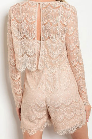 Miya Beige Lace Top and Romper Set