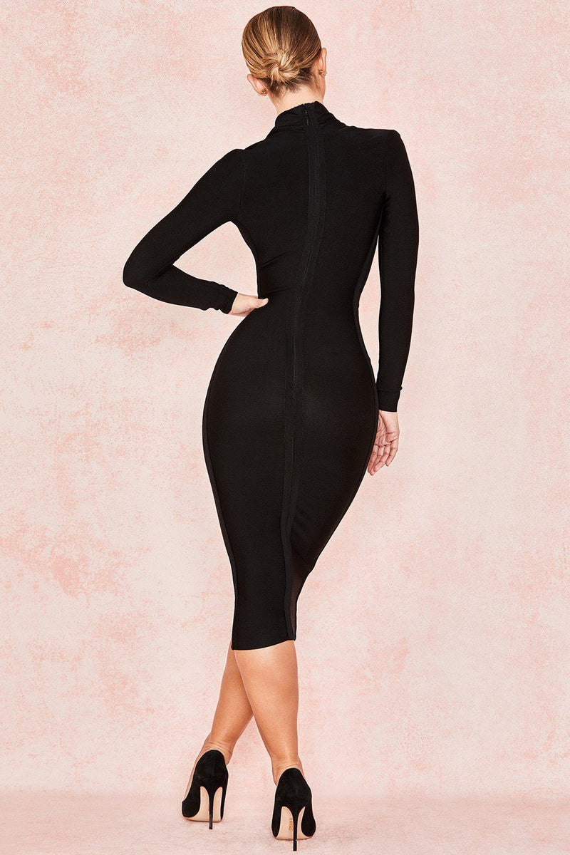 Black Deep V Neck Long Sleeve Draped Bandage Dress