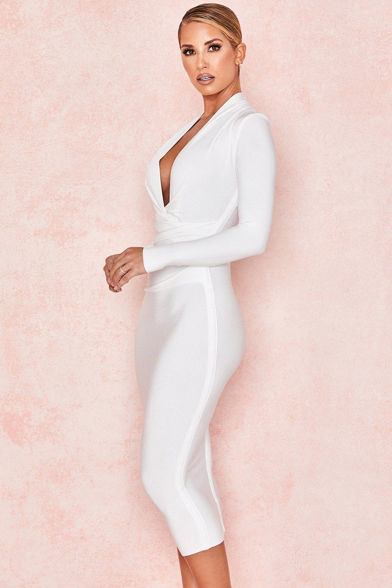 White Deep V Neck Long Sleeve Draped Bandage Dress