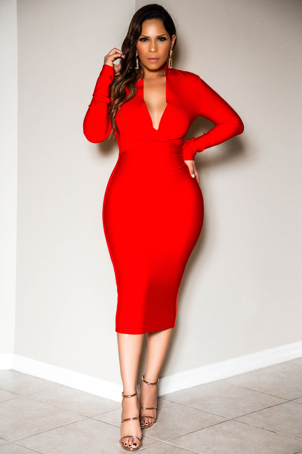 Molly Deep V Neck Long Sleeve Draped Bandage Dress