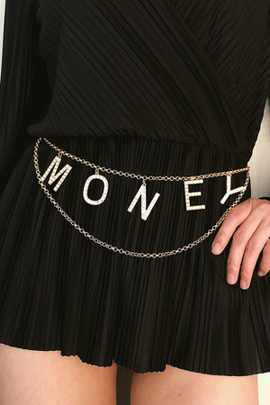 Minimalist Crystal Inlaid Hollow MONEY Chain Belt
