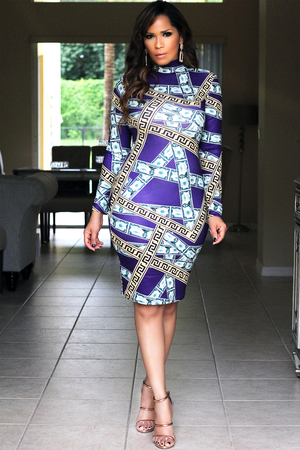 Money Money Print Quarter Sleeves Bodycon Dress