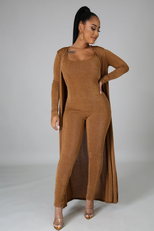 Monique Brown Long Sleeve Jumpsuit