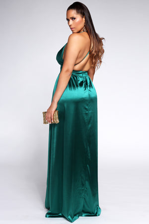 Montes Sexy Satin Deep V Neck Backless Maxi Party Evening Dress in Green