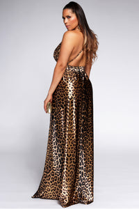Montes Sexy Satin Deep V Neck Backless Maxi Party Evening Dress in Leopard Print