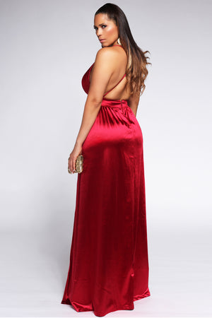 Montes Sexy Satin Deep V Neck Backless Maxi Party Evening Dress in Red