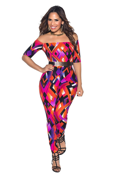 Multi Off Shoulder Diamond Print Bodycon Jumpsuit - MY SEXY STYLES  - 2