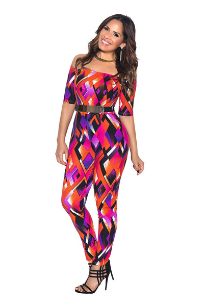 Multi Off Shoulder Diamond Print Bodycon Jumpsuit - MY SEXY STYLES  - 3