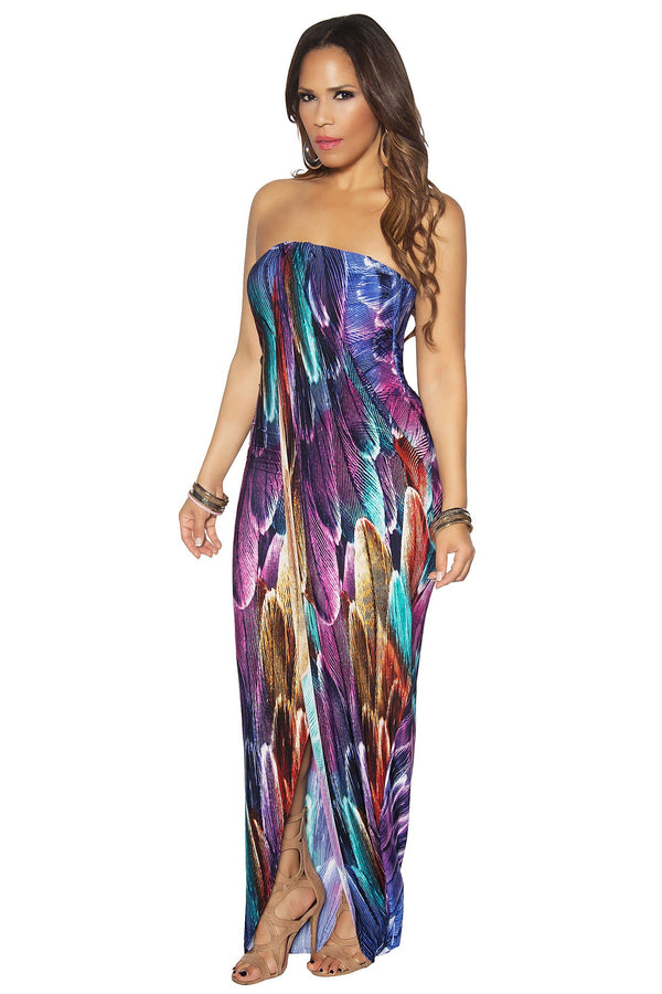 Multicolor Leaves Print Wrap Strapless Maxi Dress