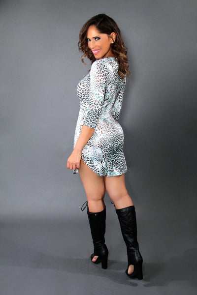 Multicolor Teal Leopard Print Quarter Sleeve Bodycon Mini Dress - MY SEXY STYLES