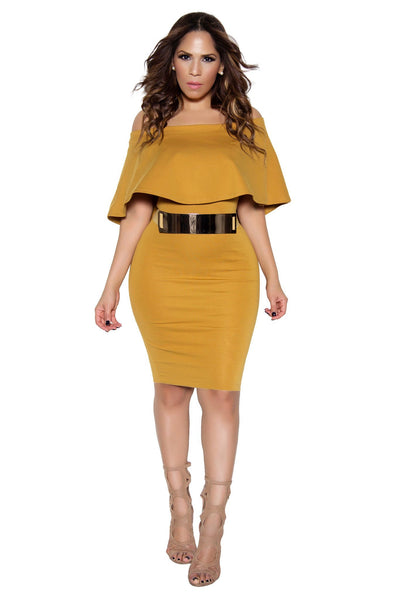 Mustard Bodycon Off Shoulder Ruffle Frill Midi Dress - MY SEXY STYLES  - 1