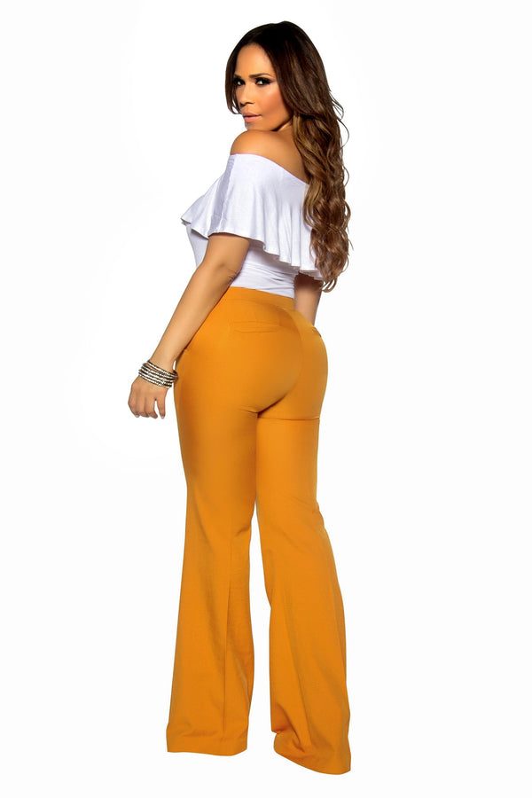 Mustard Bell Bottom High Waist Pants