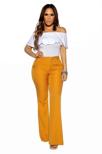 Mustard Bell Bottom High Waist Pants - MY SEXY STYLES