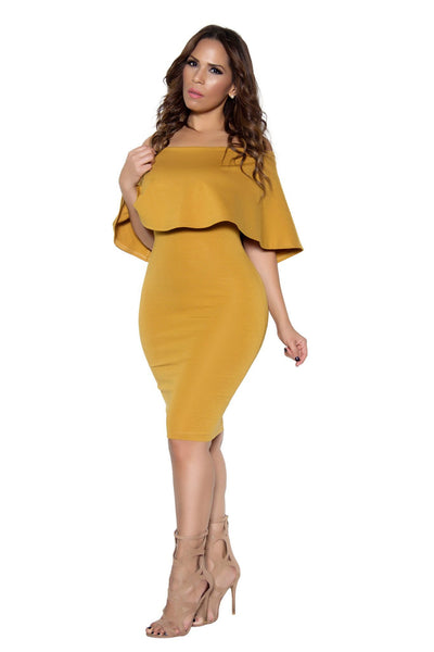 Mustard Bodycon Off Shoulder Ruffle Frill Midi Dress - MY SEXY STYLES  - 3