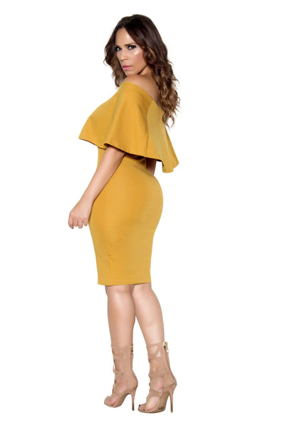 Mustard Bodycon Off Shoulder Ruffle Frill Midi Dress - MY SEXY STYLES  - 4