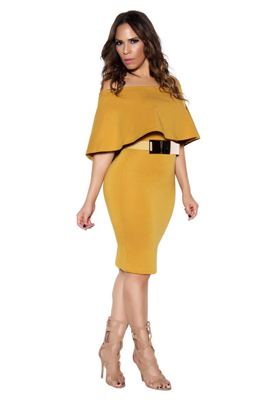 Mustard Bodycon Off Shoulder Ruffle Frill Midi Dress - MY SEXY STYLES  - 2