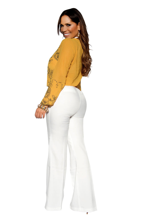 Mustard Long Sleeve Embroidered Woven Top