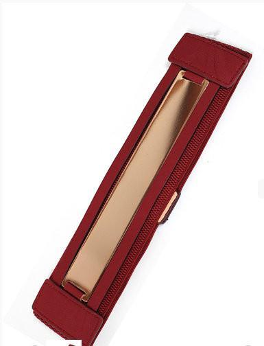 Burgundy Wide Stretch Gold Plated Belt - MY SEXY STYLES