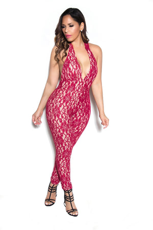 Red Lace Plunging Halter Jumpsuit - MY SEXY STYLES