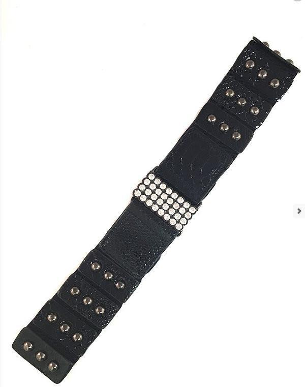 Black Wide Stretch Faux Snake Skin Belt - MY SEXY STYLES