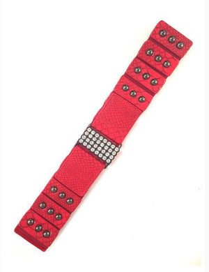 Red Wide Stretch Faux Snake Skin Belt - MY SEXY STYLES