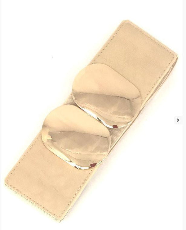 Beige Wide Stretch Gold Accent Belt - MY SEXY STYLES  - 1
