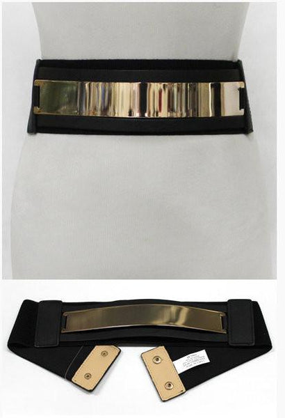 Black Wide Stretch Gold Plated Belt - MY SEXY STYLES