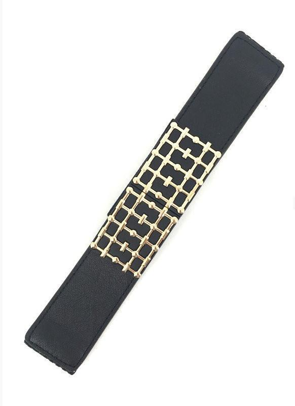 Black Wide Stretch Gold Accent Belt - MY SEXY STYLES