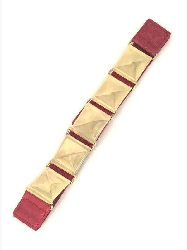 Burgundy Stretch Pyramid Stud Belt - MY SEXY STYLES
