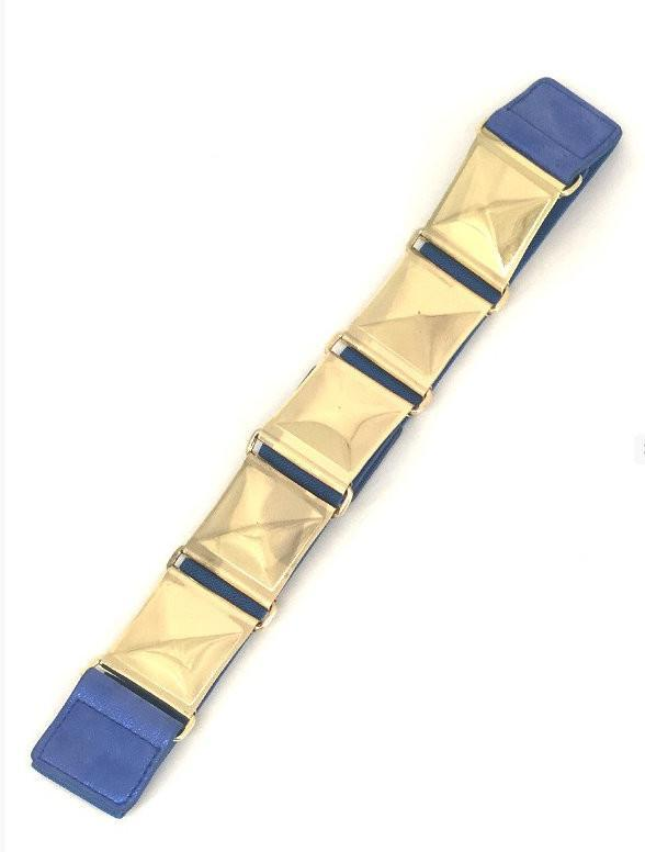 Royal Blue Stretch Pyramid Stud Belt - MY SEXY STYLES