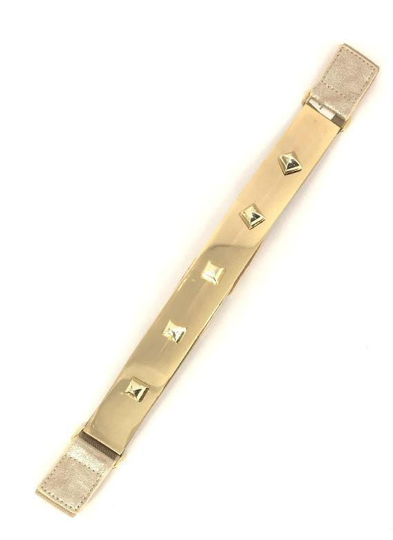 Nude Stretch Gold Plated Pyramid Stud Belt - MY SEXY STYLES
