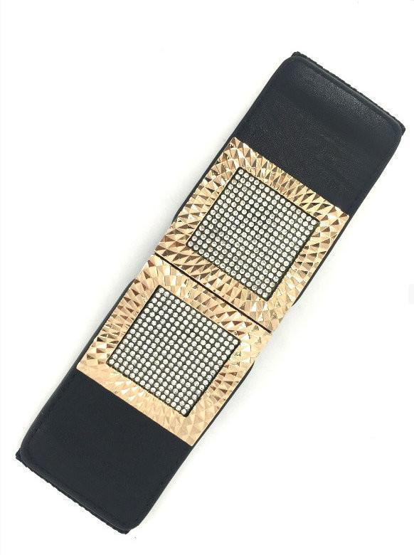 Black Wide Stretch Embellished Gold Frame Belt - MY SEXY STYLES