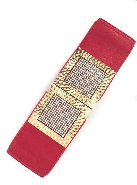 Red Wide Stretch Embellished Gold Frame Belt - MY SEXY STYLES