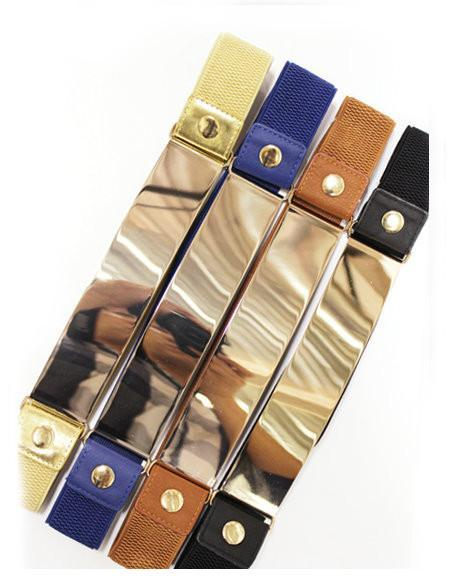 Royal Blue Stretch Gold Plate Accent Belt - MY SEXY STYLES
