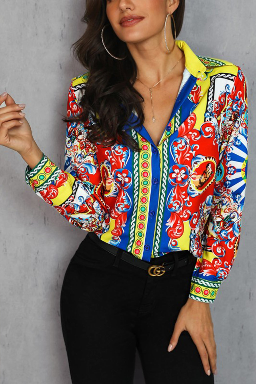 Nadia Mixed Print Casual Long Sleeves Shirt