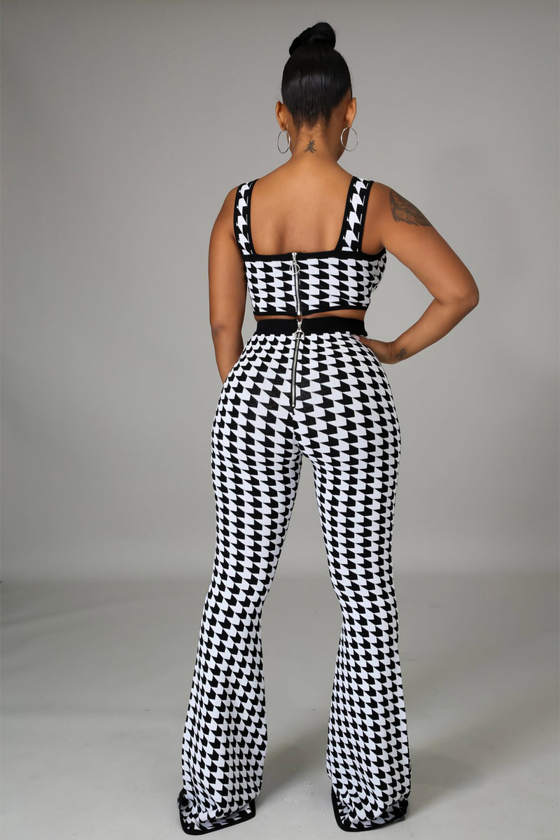Nadia Black and White Pattern Print Top and Pants Set