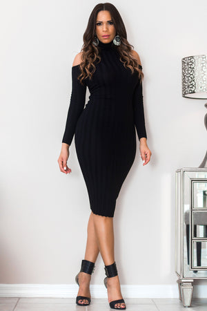 Natalia Black Turtle Neck Ribbed Cutout Shoulders Long Sleeves Midi Dress