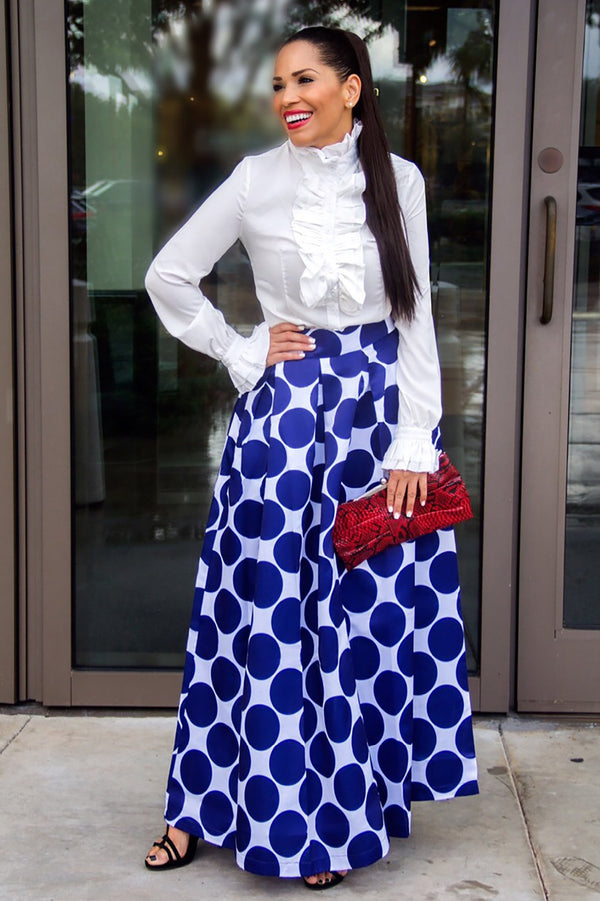 High Waist Polka Dot Print Maxi Skirt in Navy Blue