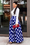 Navy Blue Polka Dot Print Maxi Skirt - MY SEXY STYLES